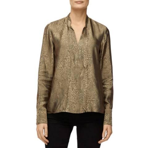 J Brand Leopard Jacquard Mira Bow Tie Blouse