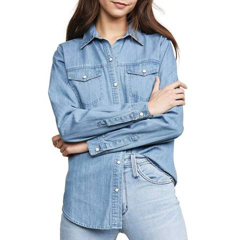 J Brand Blue Perfect Denim Cotton Shirt