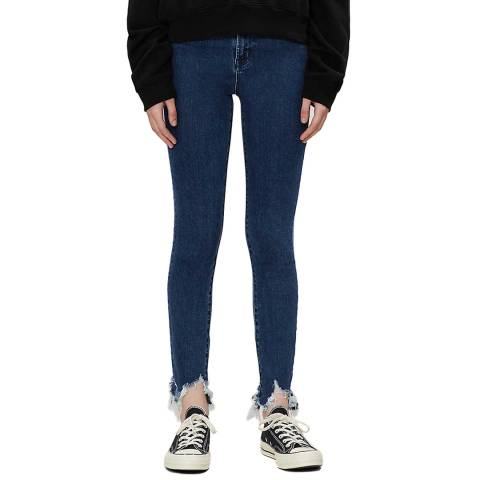 J Brand Indigo Distressed Leenah Skinny Stretch Jeans