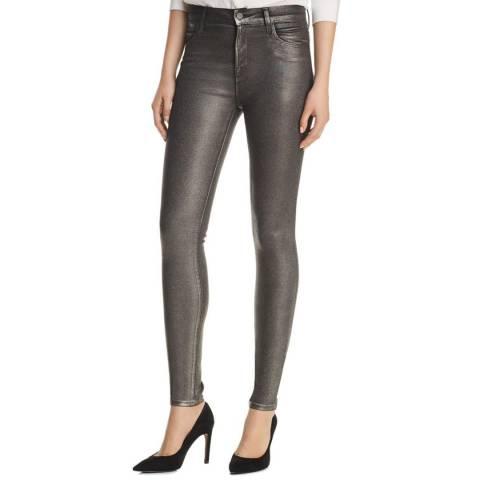 J Brand Grey Maria Coated Skinny Stretch Jeans
