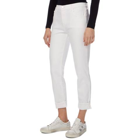 J Brand White Johnny Boyfit Stretch Jeans