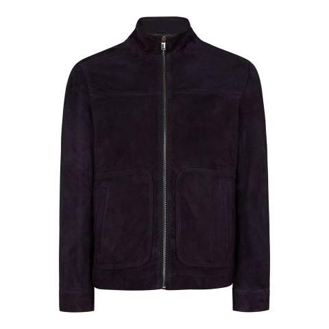 Reiss Navy Callum Suede Zip Jacket