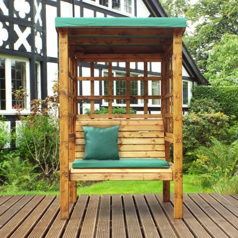 Charles Taylor Bramham Two Seat Arbour with Green Cushions