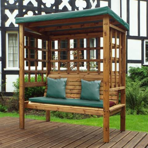 Charles Taylor Bramham Three Seat Arbour with Green Cushions