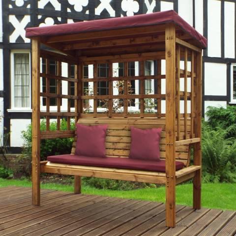 Charles Taylor Bramham Three Seat Arbour with Burgundy Cushions