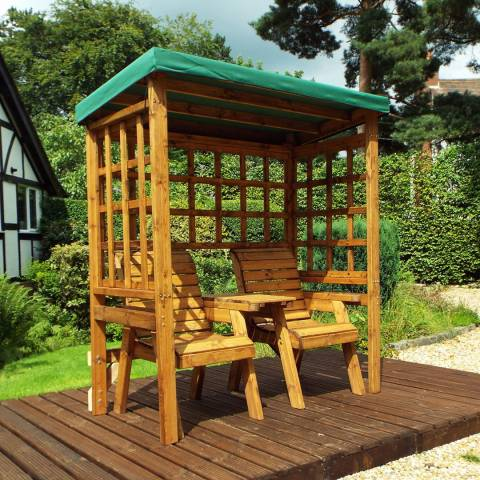 Charles Taylor Henley Twin Seat Arbour with Green Cushions