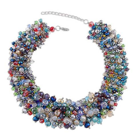 Liv Oliver Silver Plated Multi Color Crystal Necklace