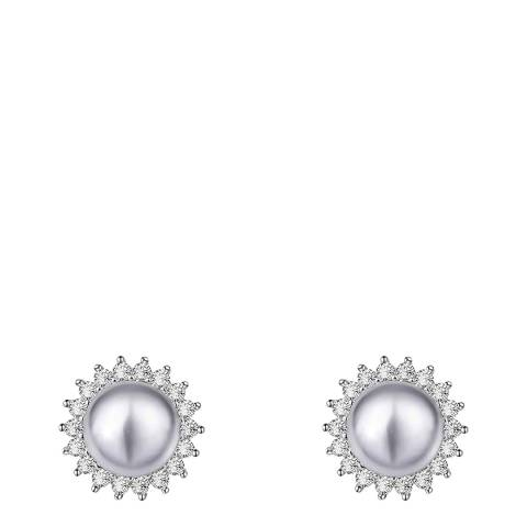 Liv Oliver Sterling Silver Grey Pearl & Cubic Zirconia Stud Earrings