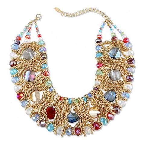 Liv Oliver 18K Gold Plated Multi Color Statement Necklace