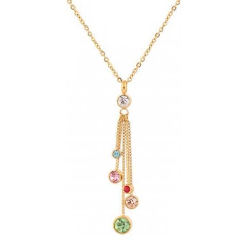 Liv Oliver 18K Gold Multi CZ Tassle Necklace