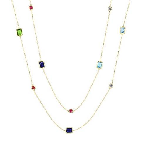 Liv Oliver 18K Gold Emerald Cut And Round Multi Color Long Necklace