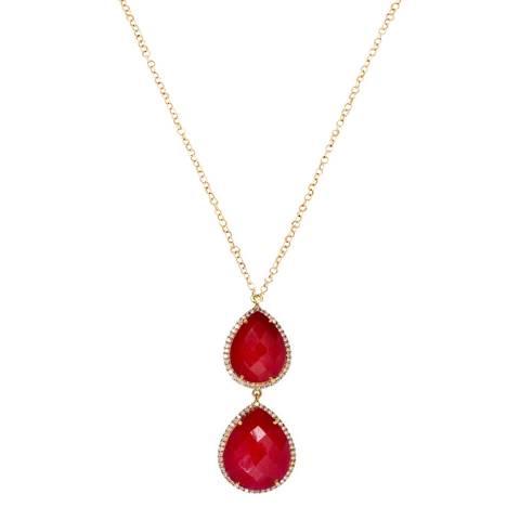 Liv Oliver 18K Gold Ruby Embelished Double Pear Drop Necklace