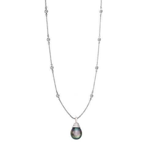 Liv Oliver Sterling Silver Grey Pearl Drop CZ Necklace