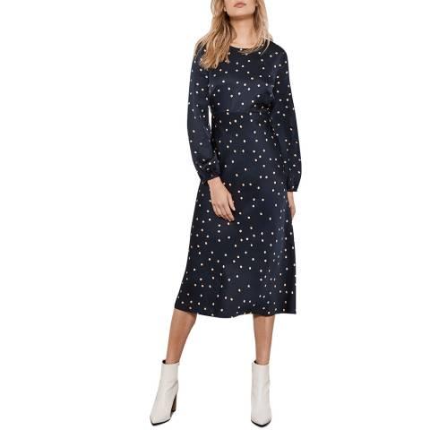 Mint Velvet Navy Spot Satin Midi Dress