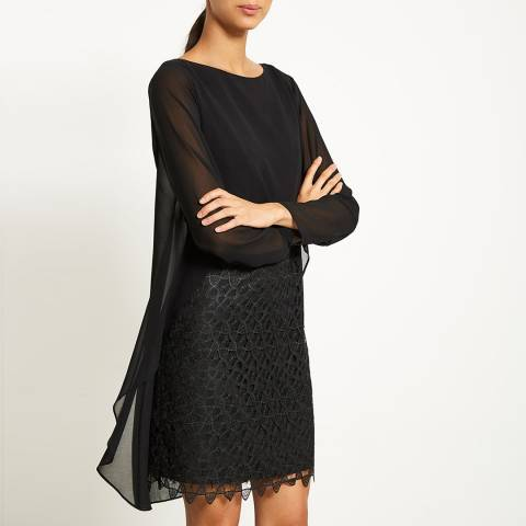 Mint Velvet Black Lace Cape Layered Dress