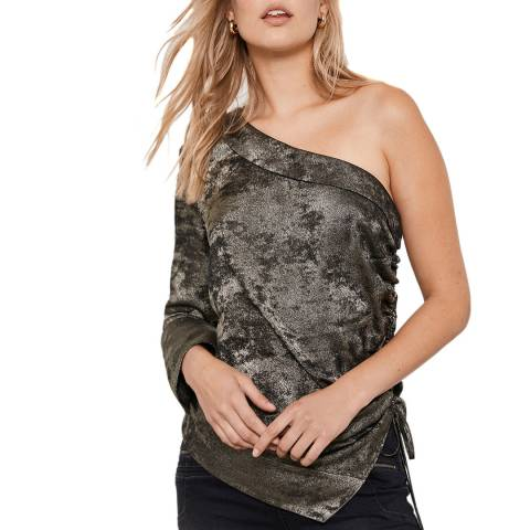 Mint Velvet Grey Shimmer One Shoulder Top