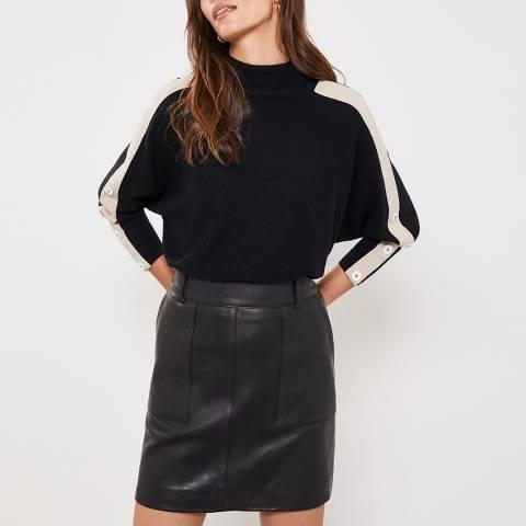 Mint Velvet Black Leather Mini Skirt