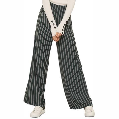 Mint Velvet Green Striped Wide Leg Trouser