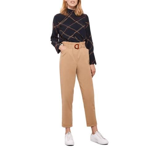 Mint Velvet Camel Belted Paperbag Trousers