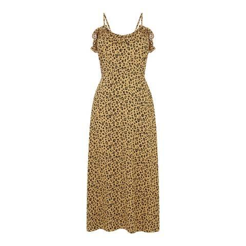 Warehouse Neutral Print Little Leopard Frill Dress