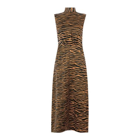 Warehouse Zebra Mix Zebra High Neck Dress