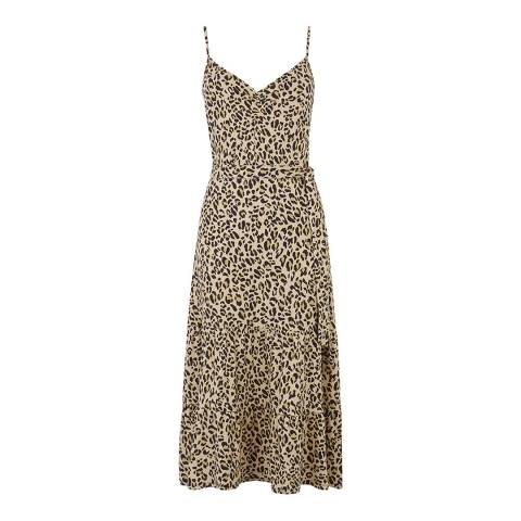 Warehouse Animal Leopard Tiered Cami Dress