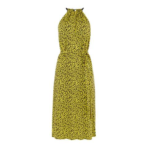 Warehouse Yellow Little Leopard Dress