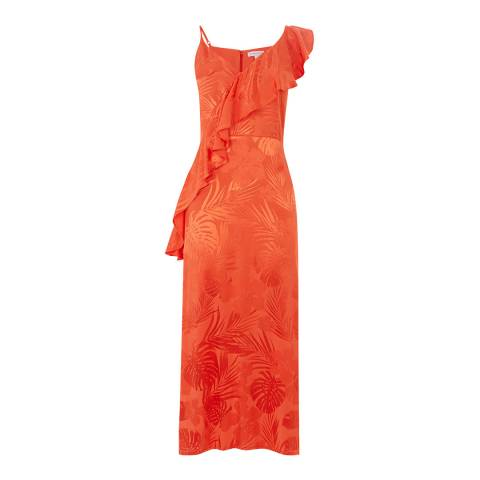 Warehouse Orange Palm Jacquard Frill Cami Dress