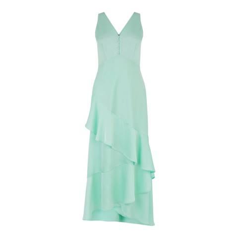 Warehouse Aqua Satin Ruffle Dress