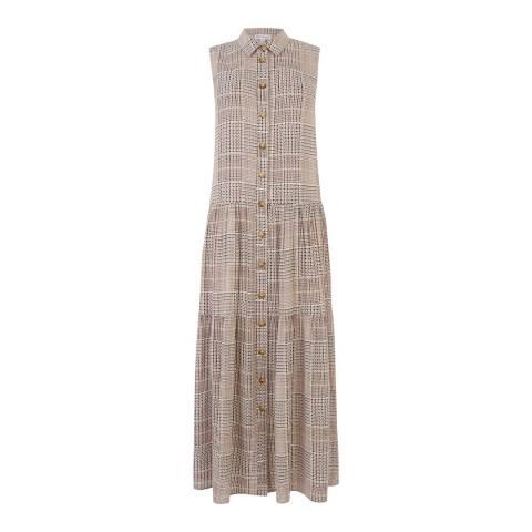 Warehouse Neutral Print Sabel Check Tiered Shirt Dress