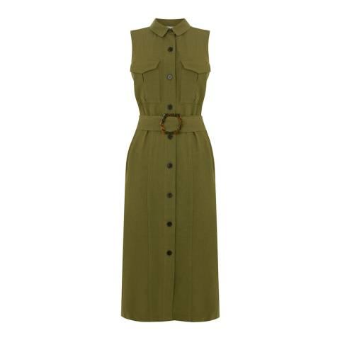 Warehouse Khaki Linen Buckle Shirt Dress