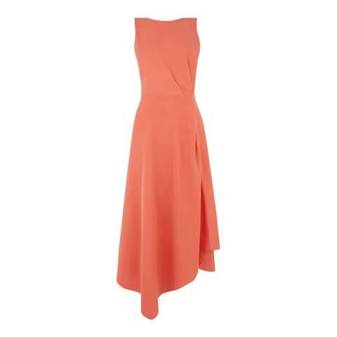 Warehouse Coral Tie Back Midi Dress