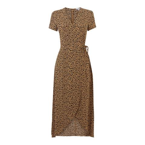 Warehouse Tan Animal Print Wrap Dress