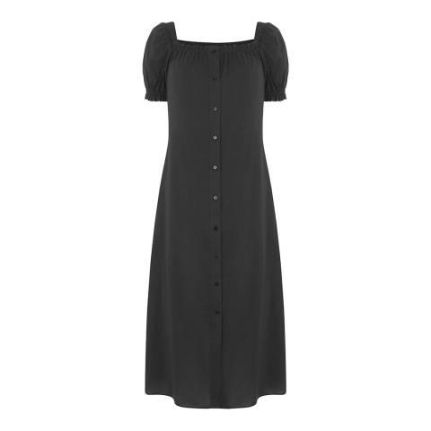 Warehouse Black Square Neck Midi Dress