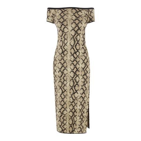 Warehouse Animal Snake Jacquard Dress