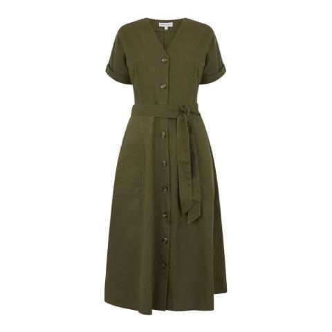 Warehouse Khaki Ss Linen Button Through Dress