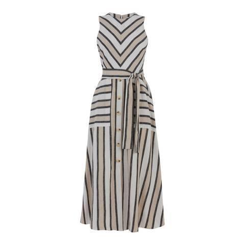 Warehouse Neutral Stripe Stripe Linen Midi Dress