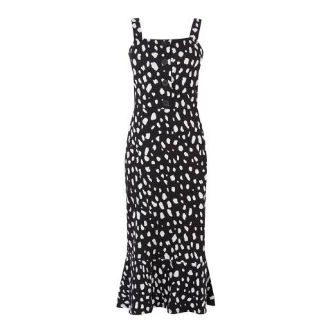 Warehouse Black Pattern Square Neck Pebble Print Dress