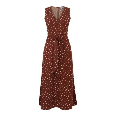 Warehouse Rust Vivian Spot Dress