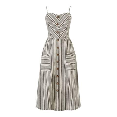 Warehouse Neutral Stripe Button Through Stripe Dress