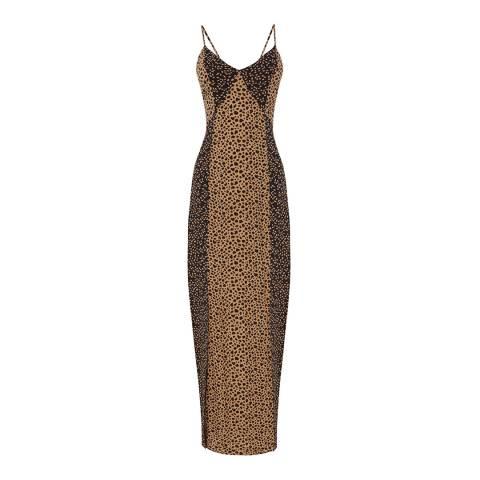 Warehouse Tan Mixed Animal Print Maxi Dress