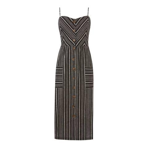 Warehouse Black Stripe Button Through Stripe Dress