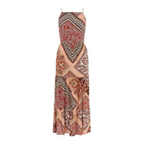 Warehouse Multi Paisley Tiered Dress