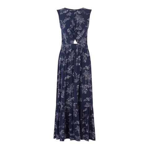 Warehouse Navy Aloha Printed Midi Dress