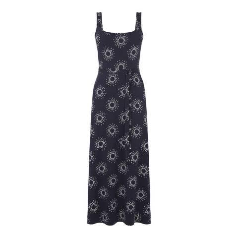 Warehouse Blue Pattern Sun Printed Dress