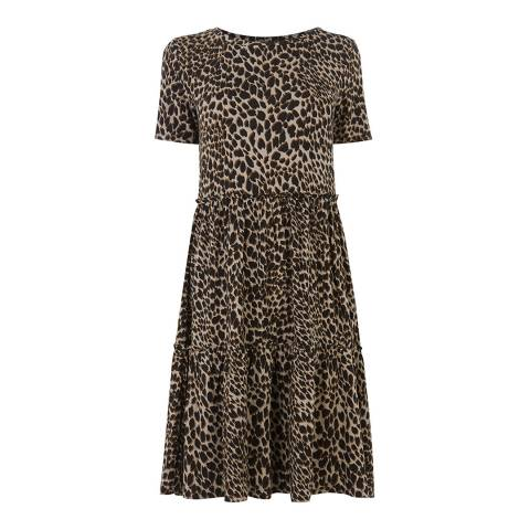 Warehouse Animal Brushed Bobcat Tiered Dress
