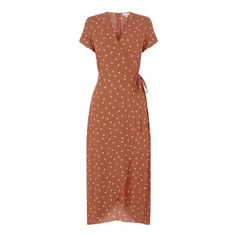 Warehouse Tan Spot Wrap Dress