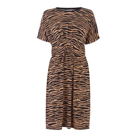 Warehouse Animal Tiger Print Tie Front Dress