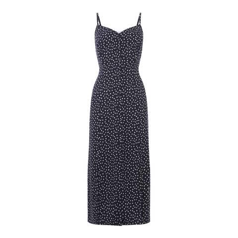 Warehouse Blue Pattern Kika Print Midi Dress