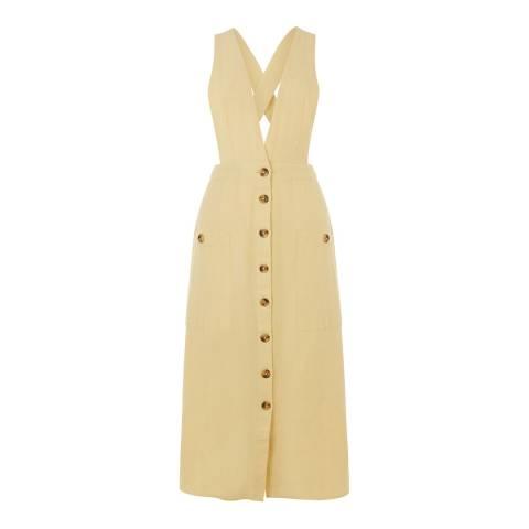 Warehouse Lemon Linen Pinafore Dress